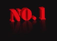 Nr 1 in rood op zwarte Royalty-vrije Stock Afbeelding