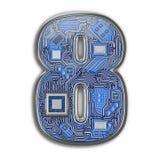 Nr. 8 acht, Alphabet in der Leiterplatteart High-Techer Buchstabe Digital lokalisiert auf Weiß lizenzfreie stockfotografie