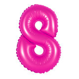Nr. 8 acht vom Ballonrosa Stockfotos
