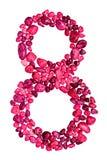 Nr. acht von rosa Kieseln Stockbild