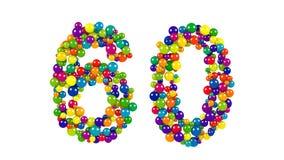 Nr. 60 als Bälle über weißem Hintergrund Lizenzfreie Stockfotografie