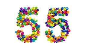 Nr. 55 als Bälle über weißem Hintergrund Lizenzfreie Stockfotos