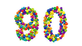 Nr. 90 als bunte Bälle über Weiß Stockbild
