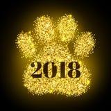 Nr. 2018 auf Goldpfotenabdruckfunkeln folgendes neues Jahr, Kalendertitelseitedesign Hundesymbol 2018-jährig vom orientalischen K Lizenzfreies Stockbild