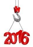 Nr. 2016 auf Kranhaken (Beschneidungspfad eingeschlossen) Stockbild