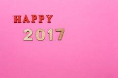 Nr. 2017 auf rosa Hintergrund Stockfotografie