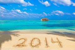 Nr. 2014 auf Strand Stockbild