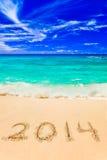 Nr. 2014 auf Strand Lizenzfreie Stockfotos