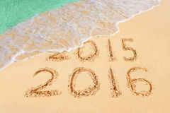 Nr. 2016 auf Strand Stockfotos
