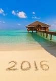 Nr. 2016 auf Strand Stockfotografie