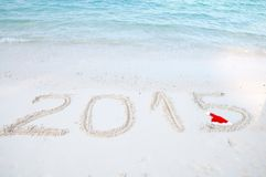 Nr. 2015 auf tropischem Strandsand Lizenzfreie Stockfotografie