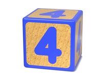 Nr. 4 - das Alphabet-Block der Kinder. Stockfotos