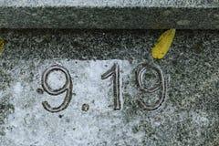 Nr. 9 19, Datum und Monat, Hintergrund Lizenzfreie Stockfotos