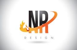 NR de Brievenembleem van N R met het Ontwerp van Brandvlammen en Oranje Swoosh Royalty-vrije Stock Foto