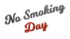 Nr - de rokende Illustratie van de Dag Kalligrafische 3D Teruggegeven die Tekst met Gray And Red-Orange Gradient wordt gekleurd Royalty-vrije Stock Afbeeldingen