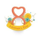 Nr. 8 in der Herzform für Feier der Frauen Tages Lizenzfreie Stockfotos