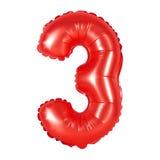 Nr. 3 drei von den Ballonen rot Stockbild