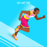När du kör 100 metrar streck av friidrottsommar spelar symbolsuppsättningen hastighet för vägen för perspektiv för begreppsbygd s Arkivbild