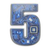 Nr. 5 fünf, Alphabet in der Leiterplatteart High-Techer Buchstabe Digital lokalisiert auf Weiß lizenzfreie stockfotos