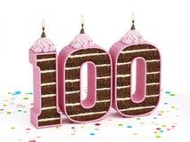 Nr. 100 formte Schokoladengeburtstagskuchen mit brennender Kerze Stockfotografie