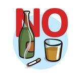 Nr - het roken, Geen Alcohol Vlakke vectorillustratie Geïsoleerdj op witte achtergrond royalty-vrije illustratie