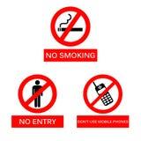 Nr - het roken, Geen Ingang en gebruikt geen mobiel telefoonsteken op ISO Stock Afbeeldingen