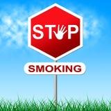Nr - het roken vertegenwoordigt Waarschuwingsbord en Gevaar Royalty-vrije Stock Afbeeldingen