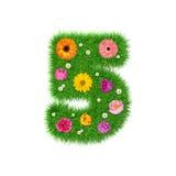 Nr. 5 machte vom Gras und von den bunten Blumen, Frühlingskonzept für Grafikdesigncollage Stockbild