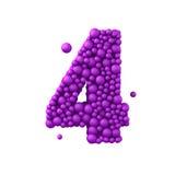 Nr. 4 machte von den Plastikperlen, die purpurroten Blasen, lokalisiert auf Weiß, 3d übertragen Lizenzfreie Stockfotografie