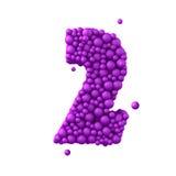 Nr. 2 machte von den Plastikperlen, die purpurroten Blasen, lokalisiert auf Weiß, 3d übertragen Lizenzfreies Stockfoto