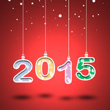 Nr. 2015 mit rotem Hintergrund Stockbild