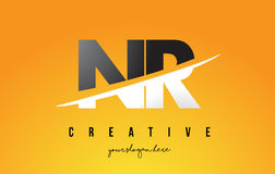 NR N R Letter Modern Logo Design with Yellow Background and Swoo. NR N R Letter Modern Logo Design with Swoosh Cutting the Middle Letters and Yellow Background Royalty Free Stock Images