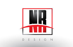 NR N R Logo Letters med röda och svarta färger och Swoosh Royaltyfria Bilder