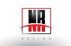 NR N R Logo Letters met Rode en Zwarte Kleuren en Swoosh Royalty-vrije Stock Afbeeldingen