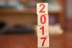 Nr., 2017, neues Jahr, hölzern, Holz Lizenzfreie Stockfotografie
