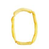 Nr. null 0 Symbol wird von den Pommes-Frites gemacht Stockfotos