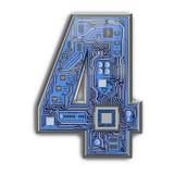 Nr. 4 vier, Alphabet in der Leiterplatteart High-Techer Buchstabe Digital lokalisiert auf Weiß lizenzfreie stockfotos