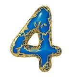 Nr. vier 4 machte vom goldenen Glänzen metallisch mit der blauen Farbe, die auf weißem 3d lokalisiert wurde lizenzfreie stockbilder