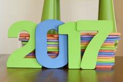 Nr. 2017 von bunten flachen Schaumspielwaren Stockbilder