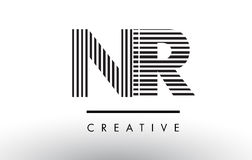 NR Zwart-witte de Lijnenbrief Logo Design van N R Stock Afbeelding