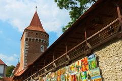 Nära stadsportar i Krakow Arkivfoto