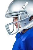 Närbild av den amerikanska fotbollsspelaren Fotografering för Bildbyråer