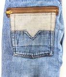 Närbild av fick- bakgrund för gammal jeans Royaltyfri Bild