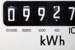 Närbild för elektrisk meter Arkivbild