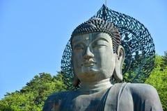 Närbild som skjutas av den jätte- Buddhastatyn på den Sinheungsa templet Royaltyfria Bilder