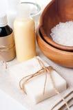 Närbilden av produkter för brunnsort och huvuddelen care Royaltyfri Foto