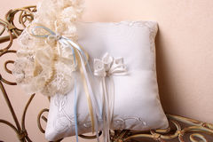 Nridal Accessories. Bridal Accessories on an old style rustic bench Stock Photo