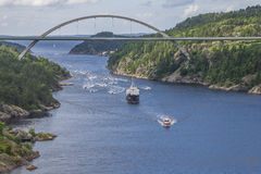 Nrk are sailing with the old ms ragnvald jarl, in ringdalsfjord Royalty Free Stock Image