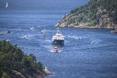 Nrk are sailing with the old ms ragnvald jarl, in ringdalsfjord Royalty Free Stock Photos