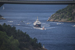 Nrk are sailing with the old ms ragnvald jarl, in ringdalsfjord Stock Image